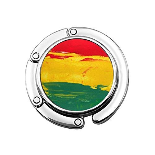 Faltbare Handtasche Kleiderbügel Geldbörse Haken, Bunte Marley Reggae Farben grün Bob Rasta Jamaika Flagge Jamaikaner