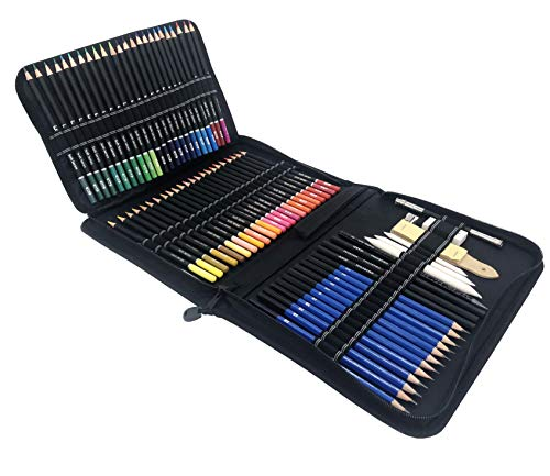 95 pezzi, Matite da disegno, set da disegno professionale; astuccio a carboncino e matite da disegno colorate, kit di materiale da disegno artistico. Matita grafite e matite colorate professionali.