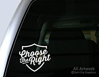 Salt City Graphics CTR Shield Decal, Choose The Right Decal - Car Window Decal (5 inches Wide, White)