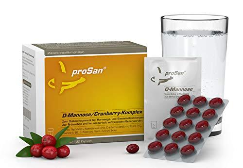 proSan® D-Mannose-Cranberry-Komplex [30 Sachets + 30 Kapseln] - Bei Blasenentzündung & Harnwegsinfekt - 4-fach stark gegen Bakterien in der Blase - Mannose-Pulver aus Birke + Cranberry-Kapseln
