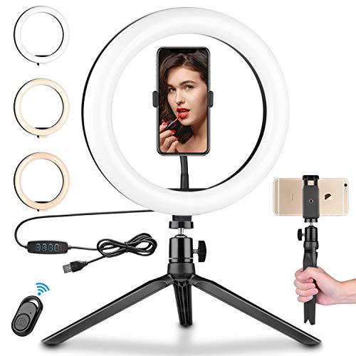 BZseed - Anillo de luz LED de 10 pulgadas con soporte y 2 soportes para teléfono para transmisión en vivo, maquillaje, selfie de escritorio para vídeo de YouTube, compatible con iPhone/Android