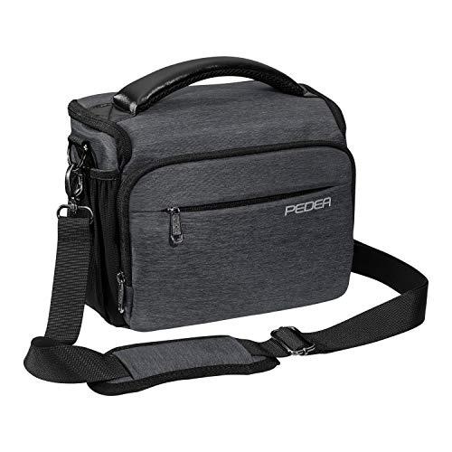 PEDEA DSLR-Kameratasche Noble Fototasche für Spiegelreflexkameras mit wasserdichtem Regenschutz, Tragegurt und Zubehörfächern, Gr. XL grau