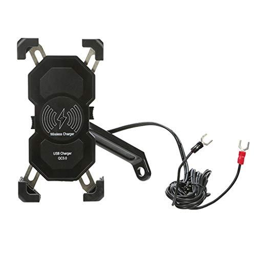 YUYAN 12-24 V motocicleta QC3.0 USB 15 W cargador inalámbrico de montaje moto teléfono titular espejo base cargador USB para teléfono móvil