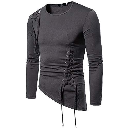 QWY Männer T-Shirt Slim-Unregelmäßige Trend Design für Reisen, Wandern, Fitnessraum Frühling und Herbst,D-M