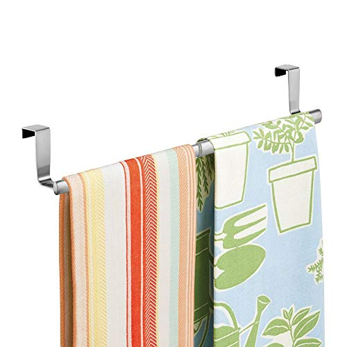 """mDesign Adjustable, Expandable Kitchen Over Cabinet Towel Bar - Hang on Inside or Outside of Doors, Storage for Hand, Dish, Tea Towels - 9.25"""" to 17"""" Wide - Brushed Stainless Steel"""
