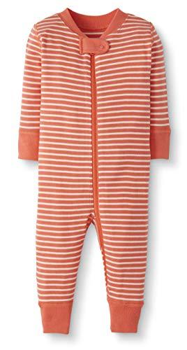 Moon and Back by Hanna Andersson Pyjama sans pied en coton bio pour tout-petits, bébés, Rayure corail, 6-12 mois (67-72 CM)