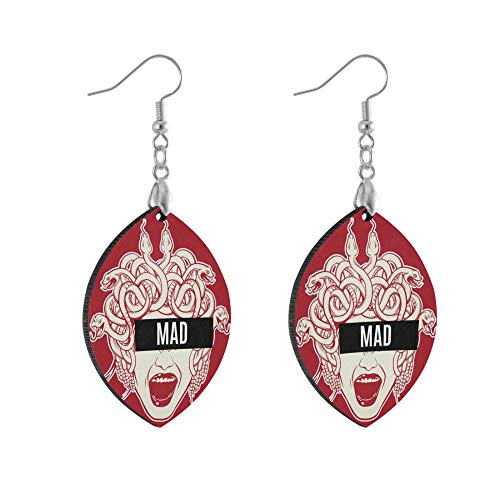 ADMustwin Wooden Earrings Mad Greek Snake Hair Woman for Women Girls Silver Plated Copper Earrings leaf Earrings Lightweight Dangle Earrings Fashion Jewelry