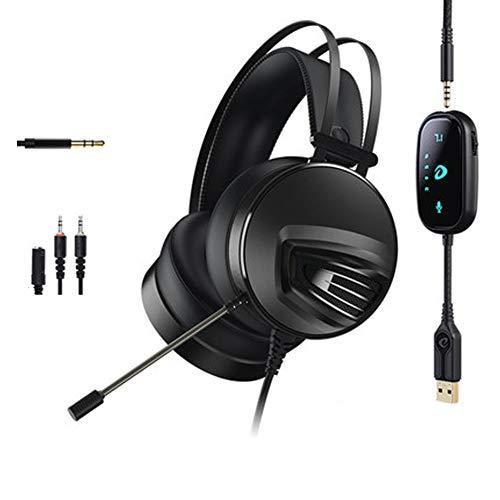 PXYUAN Casque de jeu pour PS4 Xbox One PC avec suppression de bruit et microphone stéréo 7.1 Surround Jack 3,5 mm, contrôle du volume, compatible Mac, ordinateur portable, PC Gamers Noir