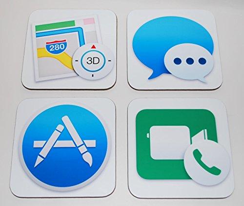 Mac OS X Yosemite App Untersetzer 4 Stück (Kartenmaterial, Nachrichten, App Store und für FaceTime)