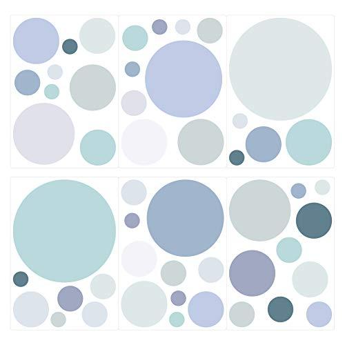 dekodino® Wandtattoo Pastell Punkte in Blau Grau Grün 50 Stück Wandsticker Set