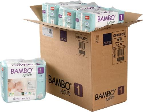 Bambo Nature Premium Eco Nappies, Size 1 Newborn (4-9 lb/2-4 kg) Case Saver 132 Count