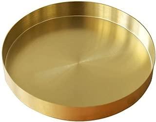 UniDes - Round Brass Tray,Small Gold Decorative Tray Metal Storage Organizer Tray for Modern Home,Matte Brass Finish | 8.66 Inch