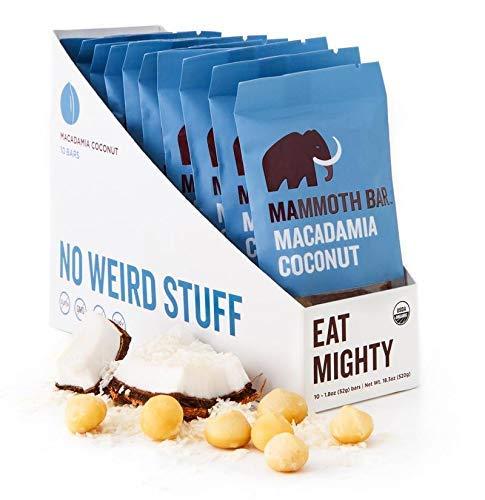 Macadamia Coconut Bar- Organic, Paleo, Gluten Free and Raw by Mammoth Bar, 10-12g Protein, 1.8 Oz. Bar (10 Bars)