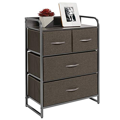 mDesign Dresser Storage Chest - Sturdy Metal Frame, Wood Top & Handles Easy Pull Fabric Bins - Organizer Unit for Bedroom, Hallway, Closet, Textured Print, 4 Drawers - Charcoal Gray/Graphite Gray