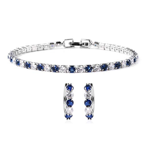 Blue White CZ Cubic Zirconia Eternity Bridal Tennis Bracelet Huggie Earrings Prom Fashion Jewelry Set for Women Mothers Day Gifts Classic Prom Fashion Jewelry 7.5' Ct 9.4