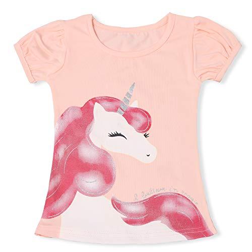TTYAOVO Camiseta de Algodón Unicornio para Niñas, Camiseta de Manga Corta para Niños Camiseta de Impresión Unicornio Lindo Tamaño 5-6 Años Rosado