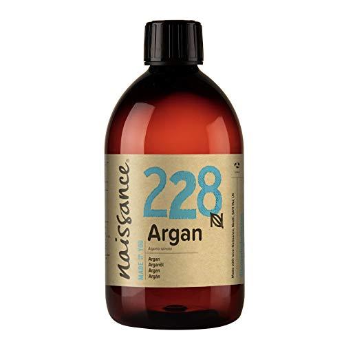 Naissance Aceite Vegetal de Argán de Marruecos n. º 228 – 500ml - Puro, natural, vegano, sin hexano y no OGM - Hidratación natural para el rostro, el cabello, la barba y las cutículas.