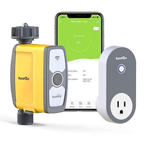 RAINPOINT WiFi Bewässerungscomputer, Smarte Wasserzeitschaltuhr mit APP, Automatische Bewässerungsuhr, Ferngesteuertes Bewässerungssystem mit Wassermengenzähler, für Garten und Gewächshaus