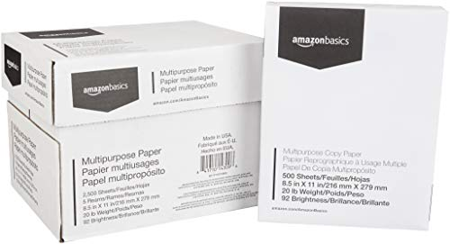 AmazonBasics 92 Bright Multipurpose Copy Paper - 8.5 x 11 Inches, 5 Ream Case (2,500 Sheets)