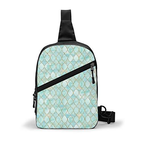 Aqua And Gold Oriental Pattern Chest Bag Crossbody Sling Backpack Outdoor Travel Hiking Shoulder Bag Daypack Backpack for Men Women