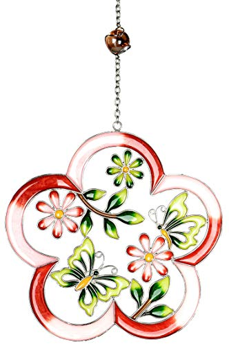 dekojohnson Moderne Deko für das Fenster-Hänger Dekohänger Glasbild Deko Tiffany Blume mit Schmetterling Rot 26cm