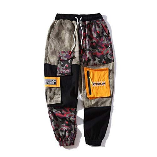 Meaeo Pantaloni Cargo Mimetici Tascabili da Uomo Grandi 2019 Pantaloni Moda Patchwork High Street 2019 Streetwear Pantaloni Casual da Jogger da Uomo -DF_L