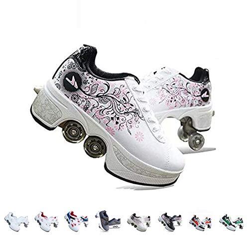 WEDSGTV Pattini A Rotelle Scarpe da Skate per Donna Uomo Ragazzi Scarpe per Bambini Scarpe da Ginnastica A Rotelle per Regalo per Principianti Unisex…