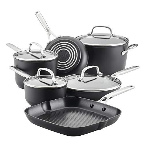 KitchenAid Hard Anodized Induction Nonstick Cookware Pots and Pans Set, 10 Piece, Matte Black