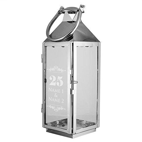 Herz & Heim® XXL Laterne mit Gravur zur Silbernen Hochzeit mit Namen 40cm