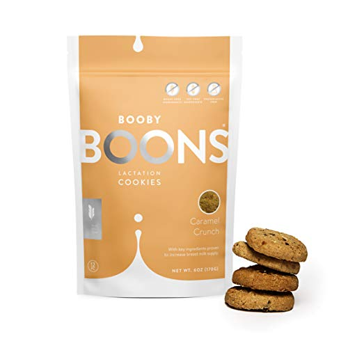 Booby Boons Lactation Cookies, Caramel Crunch, 6 Ounce Bag – Made with Gluten Free, Soy Free, Fenugreek free and non gmo ingredients. Award winning lactation support.