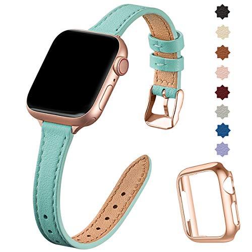 SUNFWR compatible con correa de reloj Apple de 38 mm, 40 mm, 42 mm, 44 mm, correa de cuero genuino, pulsera delgada y delgada para iwatch Series 6/5/4/3/2/1, SE (42 mm 44 mm, Tiffany blue & Rosegold)