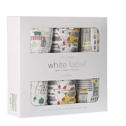 エイデンアンドアネイ おくるみ 3枚セット (カラー:city living) ホワイトラベル White label swaddle ブランケット aden+anais [並行輸入品]