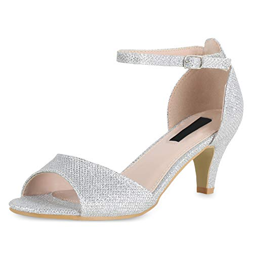 SCARPE VITA Damen Sandaletten Riemchensandaletten Party Schuhe Stiletto Absatzschuhe Elegante Glitzer Abendschuhe 180449 Silber Glitzer 37