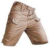 Short imperméable anti-rayures pour homme - Décontracté - Respirant - Avec poches zippées - Pantalon cargo léger - Pour la marche, le travail, la pêche, la randonnée, l'escalade - Marron - S