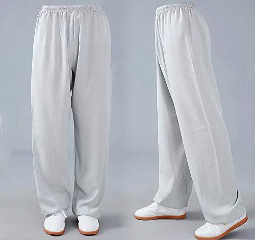 XLYAN Tai Chi Harem Pantalons Yoga Pantalons Coton Et Lin Bloomer Respirant CouleurUnie Hommes Et Femmes,Grey-XXXL