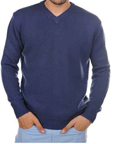 Balldiri premium kasjmier heren pullover V-hals 8-dradig kobaltblauw M