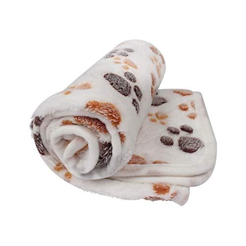 Pet Soft Dog DeckeWinterhund Katzenbett Matte FußabdruckWarm Schlafende Matratze Kleine Mittlere Hunde Katzen Coral Fleece Pet Supplies M76X52Cm Weiß