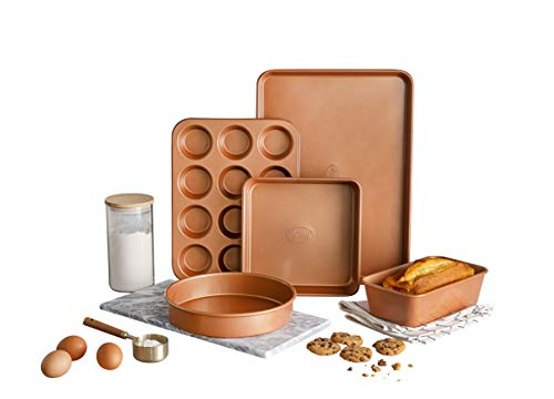 Gotham Steel Nonstick Bakeware Set with Durable Ceramic Coating, Heavy Duty 0.8MM Gauge Dishwasher Safe, Includes XL Cookie Sheet, Muffin Pan, Loaf Pan & Round Baking Tray, Copper