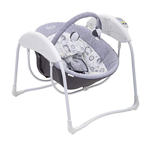 Graco Glider Lite elektrische Babyschaukel, ab Geburt bis 9 kg, 6 Schaukel-Geschwindigkeiten, 5-Punkt-Gurtsystem, maschinenwaschbarer Stoffbezug, inkl. Musik, Sounds und Spielbogen, Lionel