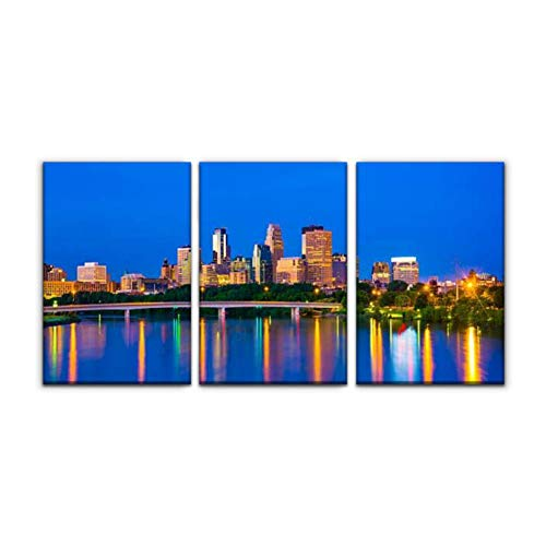 Modern Canvas Painting minneapolis skyline at dawn mississippi river arounds and pictures Wall Art Artwork Decor Printed Oil Painting Landscape Home Office Bedroom Framed Decor (16'x24'x3pcs)