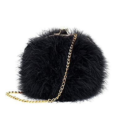 Mogor Women's Faux Fur Fluffy Feather Round Clutch Shoulder Bag