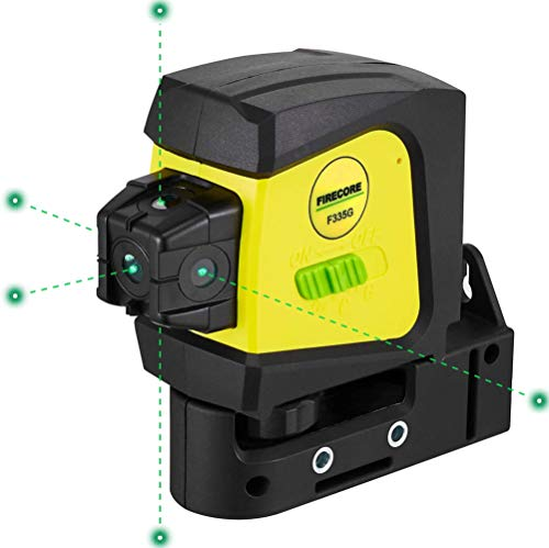 Firecore F335G 5-Point Laser, Green Beam Self-Leveling Alignment Laser with Magnetic Bracket