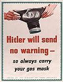 GNKJYY-T World War Gas Mask Poster GB UK USA WW2 WW1 Army Vintage Retro Man Cave Bar Pub Shed Novelty Gift Aluminium Metal Estaño Wall Décor Señal