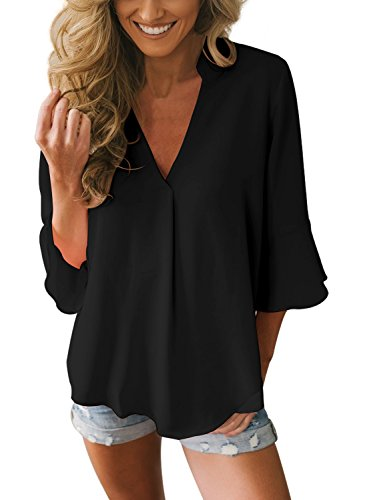 Happy Sailed Damen 3/4 Arm V-Ausschnitt Loose Elegant Eifarbig Chiffon Bluse Hemd Shirt Oberteil S-XXL, Schwarz, Large (EU44-EU46)