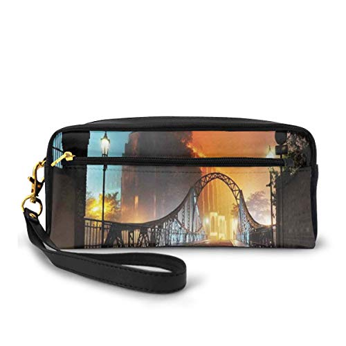 Pencil Case Pen Bag Pouch Stationary,Modern City Bridge at Night with Mystical Lights Illumination Sightseeing Urban,Small Makeup Bag Coin Purse