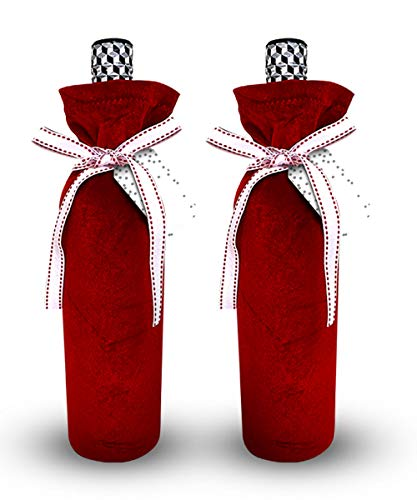 Red Velvet Bottle Bags Reusable and Eco Friendly - Make Your Bottle Look Special with Stylish Ribbons and Gift Tags (Set of 2)