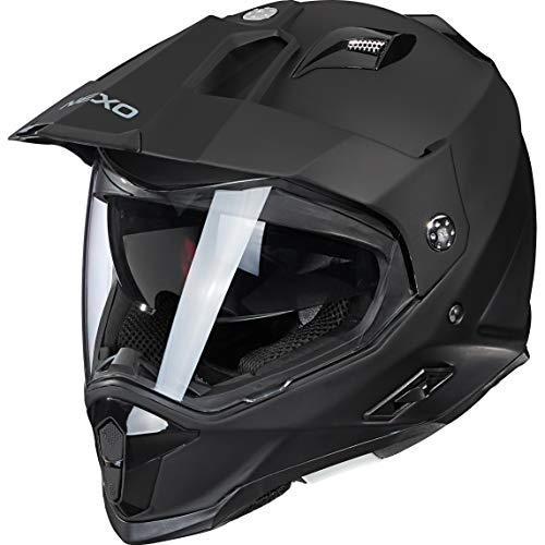Nexo Motocross Helm Motorradhelm Cross Helm Enduro Helm MX-Line Fiberglas Endurohelm, Polster herausnehmbar und waschbar, Ratschenverschluss, Sonnenblende, Windschutz, Mattschwarz, XL