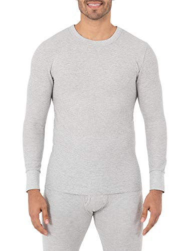 Fruit of the Loom Men's Classic Midweight Waffle Thermal Underwear Crew Top (1 & 2 Packs), Grey Heather, Large