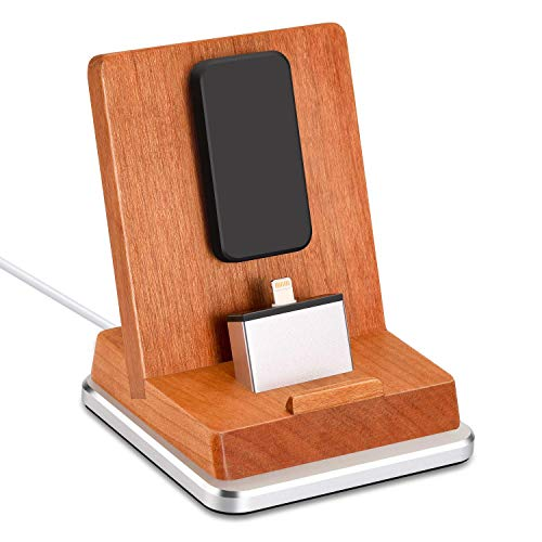 Rerii Cherry Wood Charge Stand with Aluminum Base, iPhone Charging Dock, iPhone Charger Stand for All iPhone 8/7/6/5 Plus, iPhone X/Xs/XR/XS Max, iPad Mini, Support Charging with Case