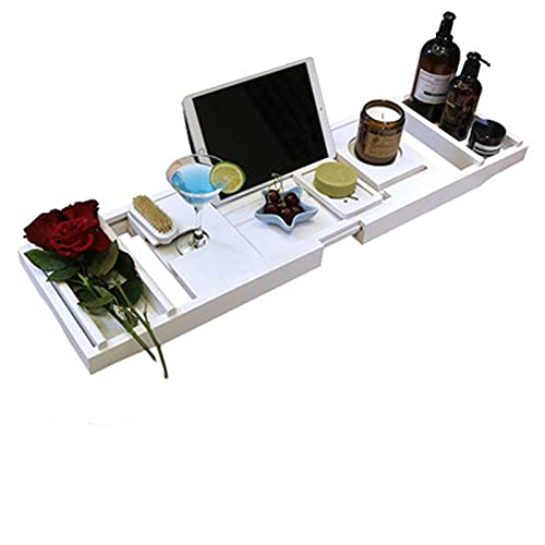 ZDAMN Bandejas de Bañera Bañera Rack Retractable Teléfono Móvil Estilo Nórdico Estilo Económico Aseo Multifuncional Soporte Plano para Bañera (Color : White, Size : 75.5-112x23x3.5cm)